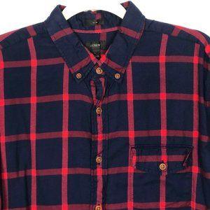 J CREW Men's Red Blue Flannel Button Down Shirt  L